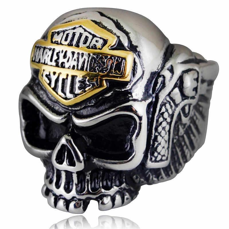 2019 moda anéis do crânio da pena para os homens jóias de prata anéis do punk dos homens fantasma festa de halloween do vintage anel de casamento dos homens hip hop
