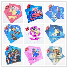 20pcs/set Frozen Anna And Elsa Lightning Mcqueen Mickey Mouse Minions Sofia Princes Moana Kid Party Supplies Disposable Napkins(China)
