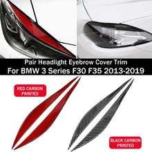 Cubiertas para faros delanteros de coche, pegatinas de fibra de carbono para BMW Serie 3, F30, F35, 2003-2012, Color negro y rojo