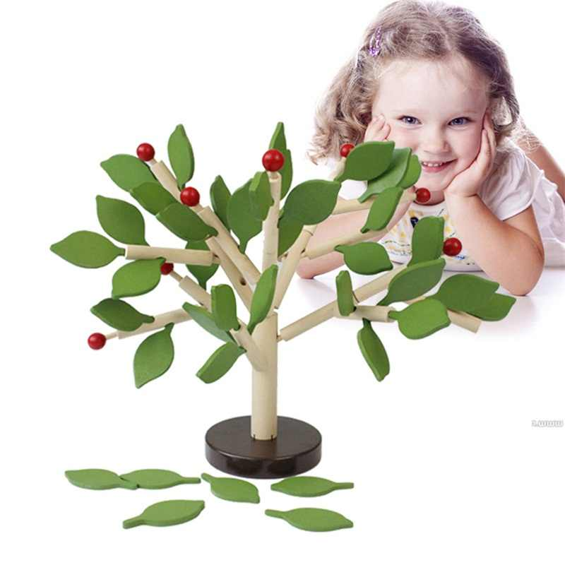 DIY Montessori Wooden Assembly 2 colors  Puzzle Toy Green Leaves Building Chopping Assembled Tree Children Educational Toy Brain