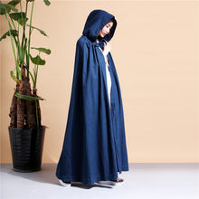 Cotton and linen women'snational wind Chinese wind longwindbreaker casual casual hooded cloak Chinese costume martial arts cloak(China)