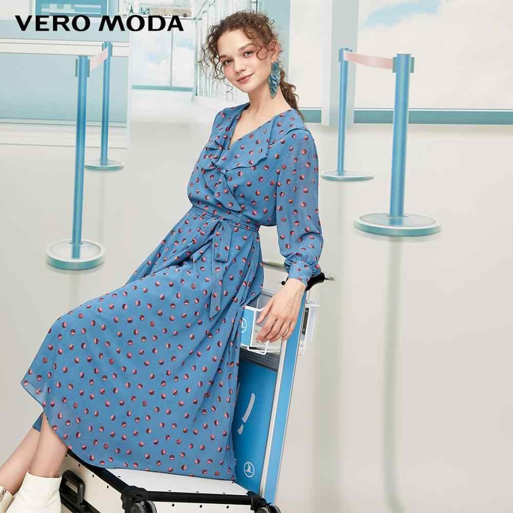 Vero Moda New 프릴 프린트 긴팔 원피스 | 31937D514