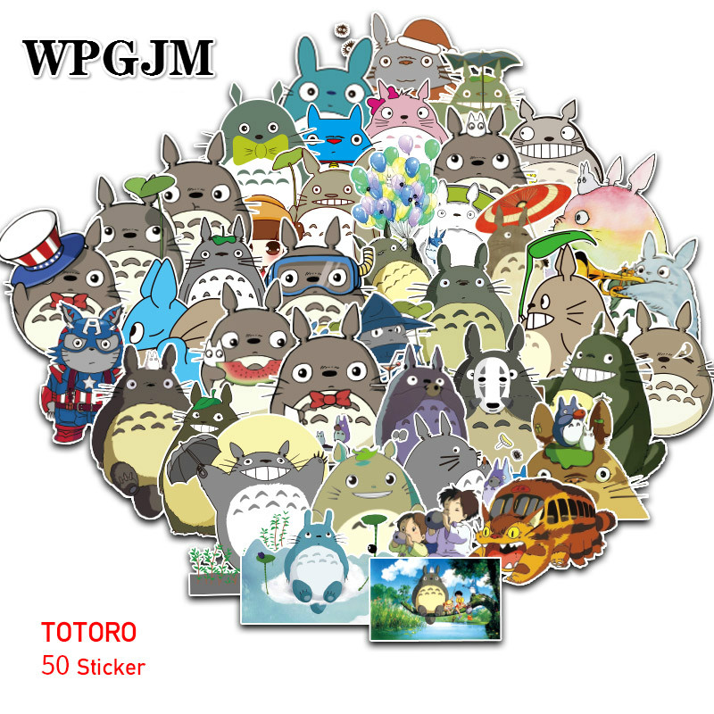 50Pcs Totoro Stickers Pack . Anime Pegatina For Children On The Laptop Fridge Phone Skateboard Suitcase Funny Cool Sticker