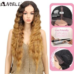 Image 4 - Nobre longo peruca preta onda profunda perucas da parte dianteira do laço para as mulheres negras 30 polegadas ombre loira marrom peruca dianteira do laço peruca sintética cosplay