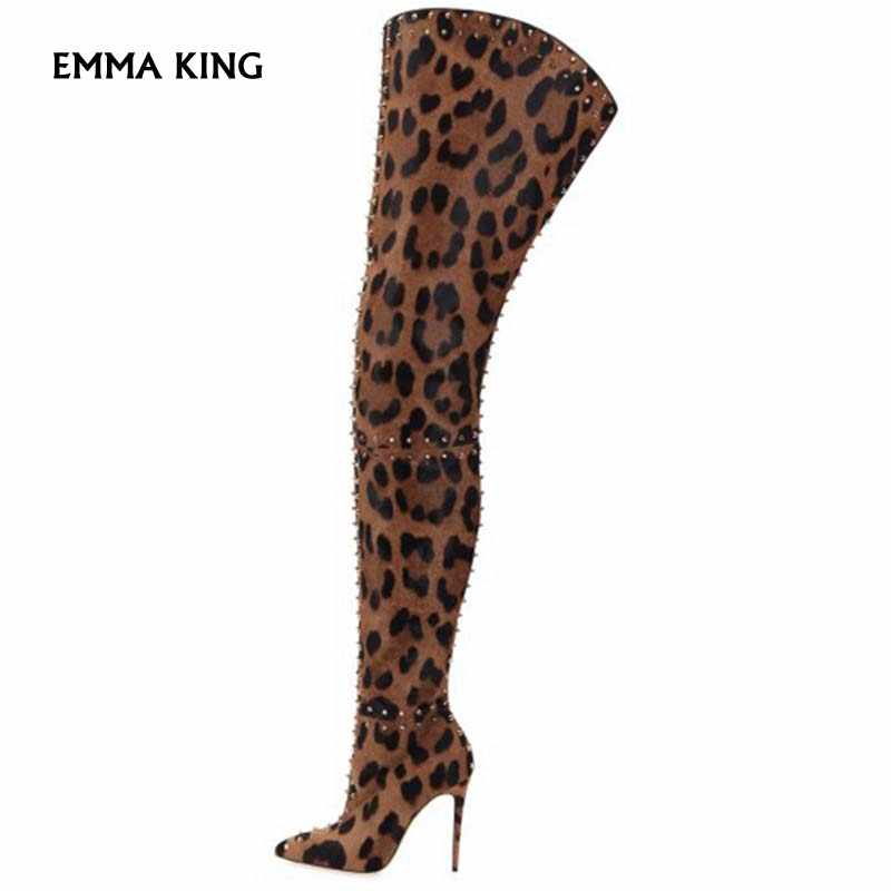 special for shoe size 7 low price sale Suede Leopard Print Over The Knee Boots Women Thin High Heels ...