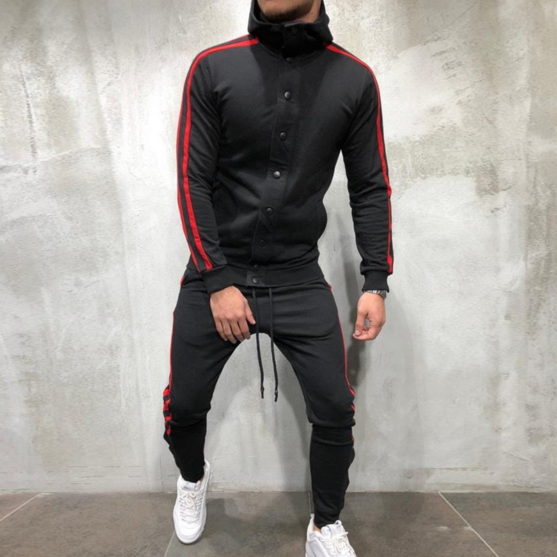 Puimentiua Men Sports TrackSuits Slim Fit Stripe Men Set Long Sleeve Button Hip Hop Clothing Casual Sweatshirts Jacket Pant Sets