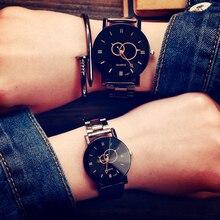 KEVIN Новый Дизайн Пара Часы Мода Черный Круглый Циферблат Нержавеющая Сталь Ремешок Кварц Наручные Часы Мужские Женщины Любовник Подарки