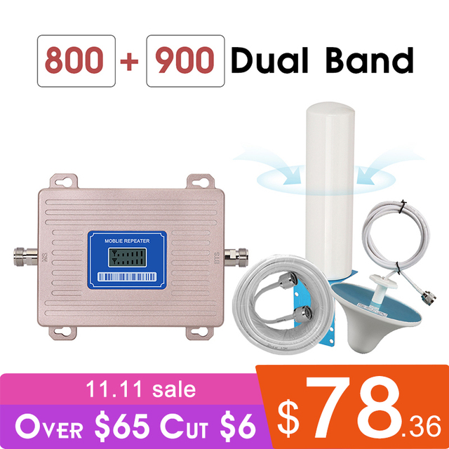 Europe Cellular Amplifier GSM Repeater 2g 3g 4g LTE 800 GSM 900 MHz Dual Band 4G Signal Booster B8 B20 LCD Display Omni Antenna