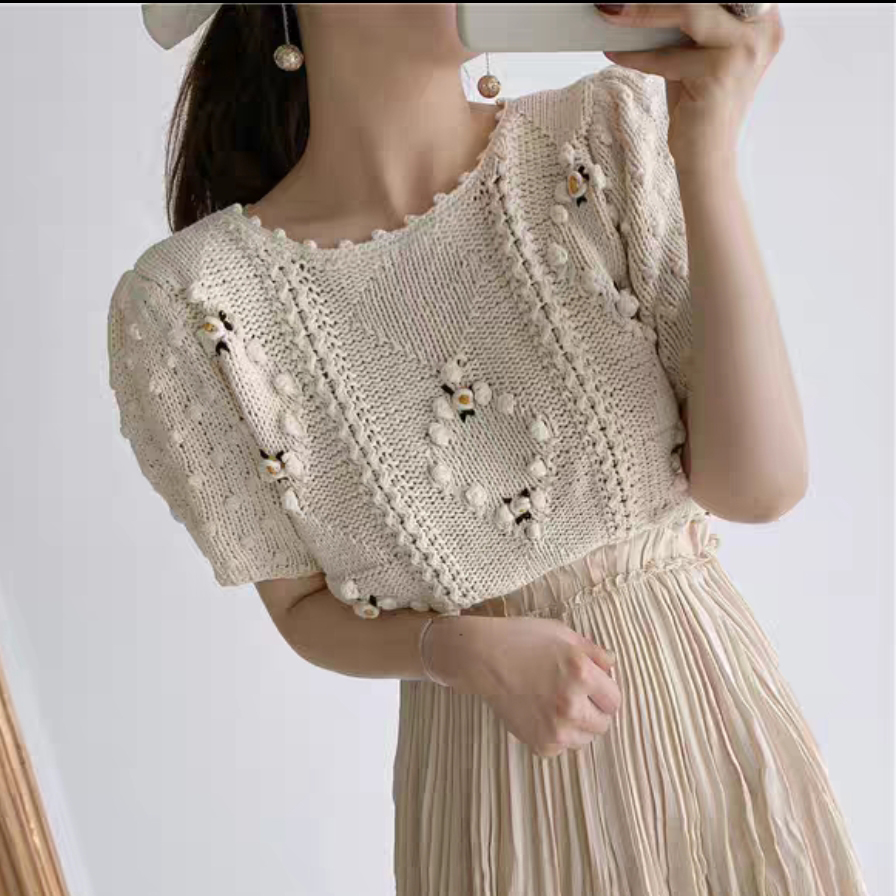 Vintage Hook Flower Women Sweater Short Sleeve Cotton Knit O-Neck Sweater Pullover Tops 2020 New