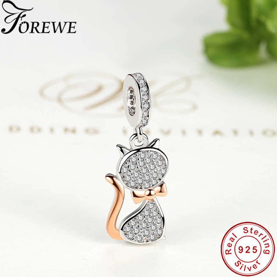 Forewe 100% リアル 925 スターリングシルバーラブリーキャットチャームペンダントビーズフィットオリジナルブレスレットペンダント本物の DIY の宝石類のギフト