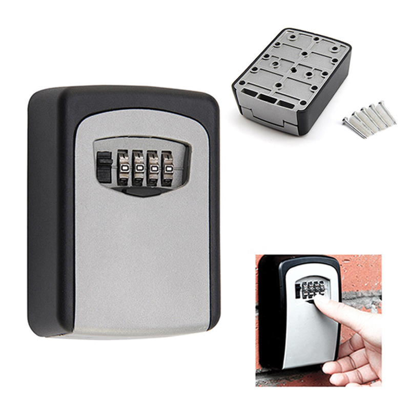 Popular 4-digit Password Outdoor Key Safe Box Alloy Keys Storage Boxes Padlock Key Security Organizer Wall Hanging Lock Storage