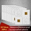 35*35cm 3D Wand Aufkleber Decke Panel Dach Decor Wasserdicht Self-Adhesive Schaum Tapete Wohnzimmer Küche TV Hintergrund