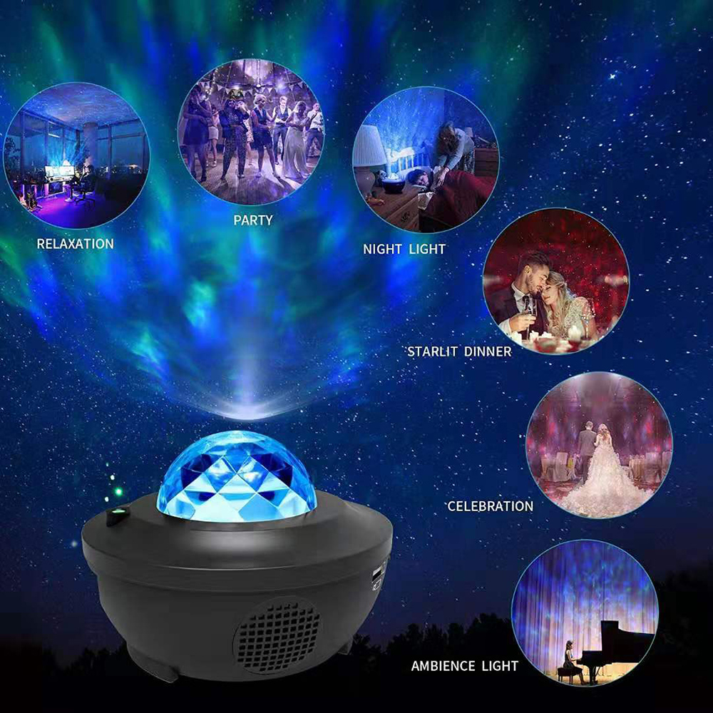 Sound-Activated LED Star Sea Water Wave Projector Light Bluetooth Music Player Remote Timer Night Light Decor Party Wedding D20