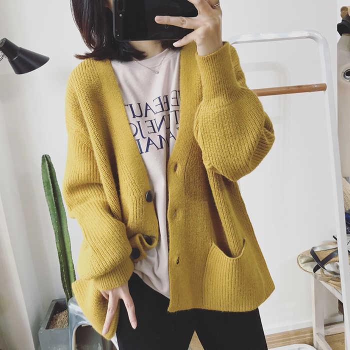 H. SA 2019, женский кардиган , свитер , v-образный вырез, однотонный, свободный, трикотаж , однобортный, Повседневный, вязаный кардиган , верхняя одежда , зимняя куртка , пальто