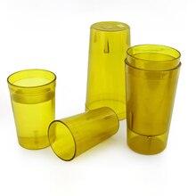 12 шт. пластиковый стакан, штабелируемые чашки для ресторана, напитков, дюжина качественных стаканчиков для напитков, многоразовые стаканчики для кафе, бара, бутылка для чая, Желтая Чашка