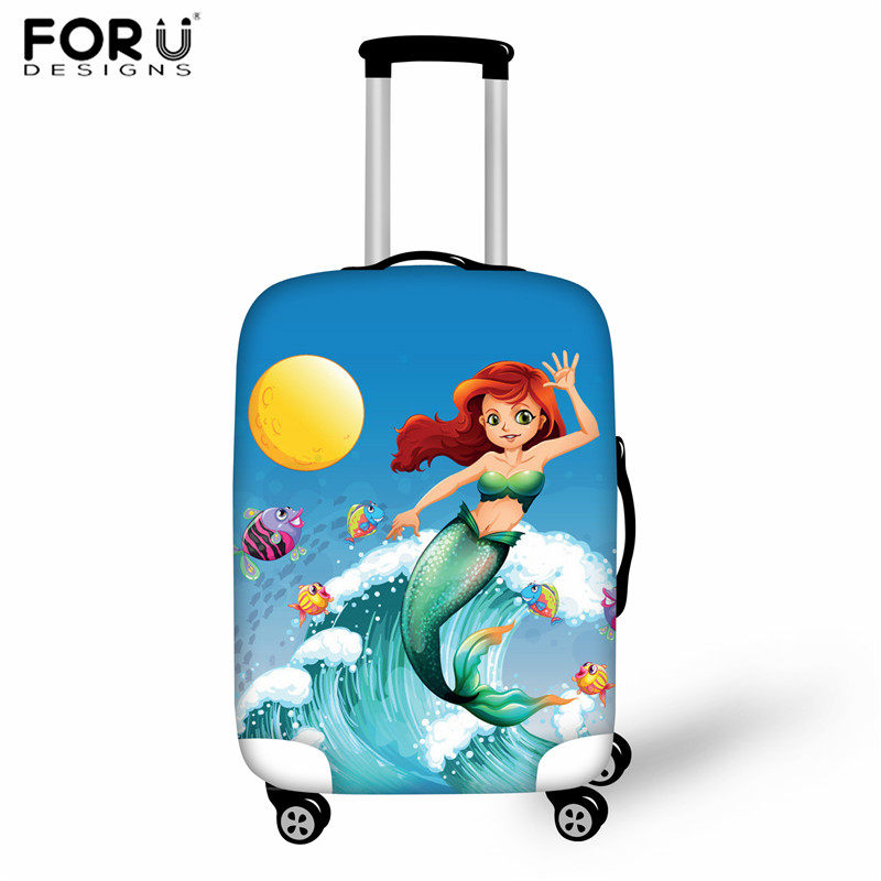 FORUDESIGNS Cartoon Mermaid Kids Travel Luggage Dust Cover Women Suitcase Protective Case Thick Elasticity Baggage Case Cover