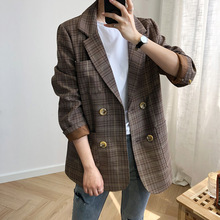 Mooirue Vintage Plaid Blazer Women Korean Restore Button Casual Streetwear Style Cardigan Harajuku Feminine Outwear Coat