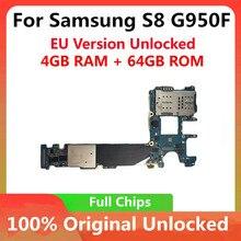 삼성 갤럭시 S8 G950F 64GB 마더 보드 원래 메인 보드 칩 잠금 해제 IMEI OS 좋은 작업 로직 보드 EU 버전