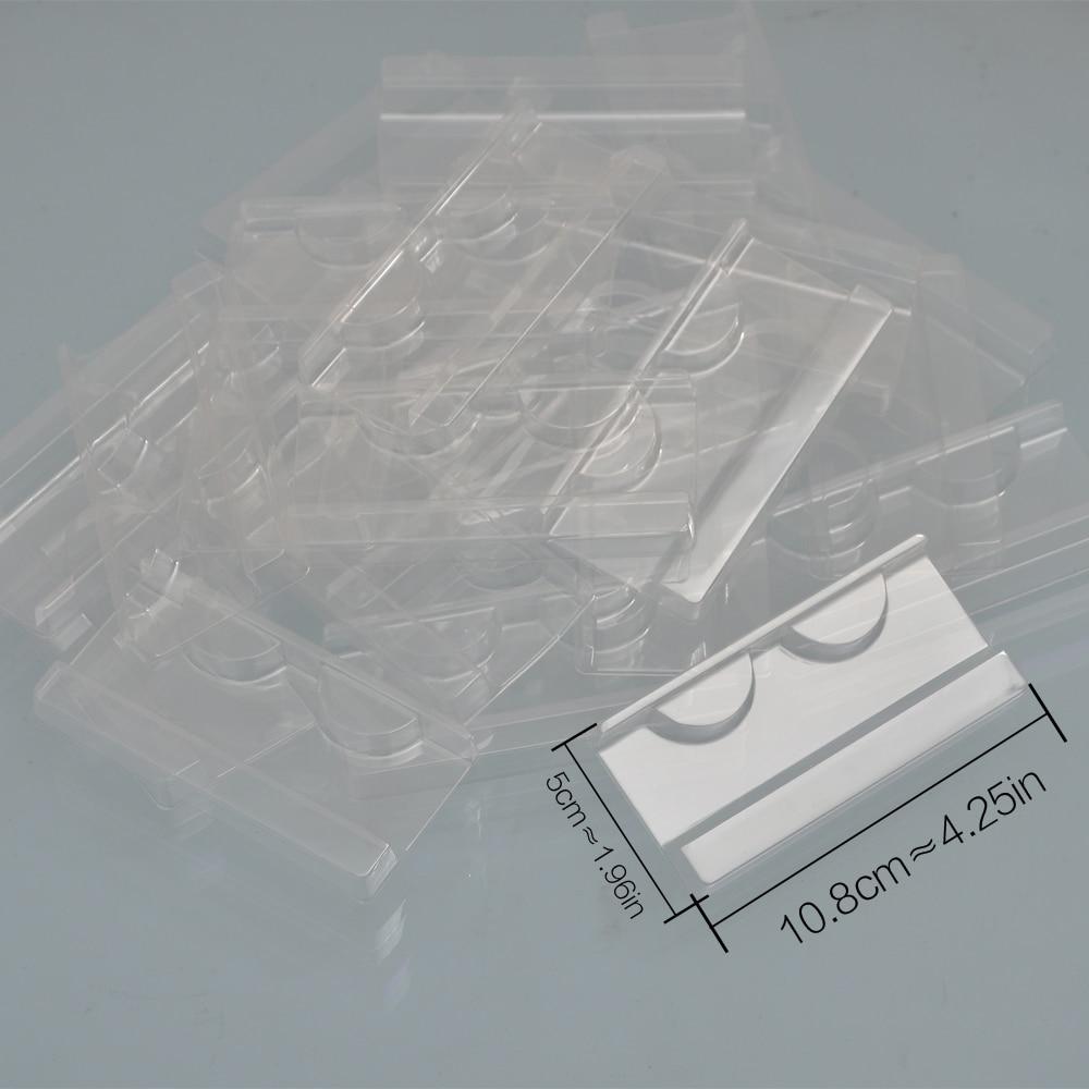 100/pack wholesale plastic clear lash tray mink lashes holder eyelash trays for eyelash packaging box package case bulk vendors