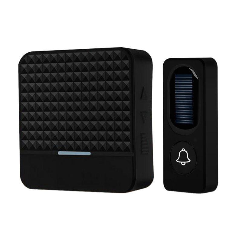 300M Long Range Solar Power Wireless Waterproof Doorbell Light Control Sensor With Transmitter+ Receiver Door Bell Kit(US Plug)