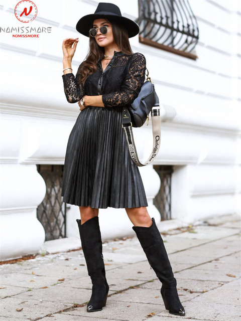 Sexy Women Spring Autumn A-Line Dress Patchwork Design Lace Decor See Through Stand Collar Long Sleeve Mid Waist Slim Dress 2