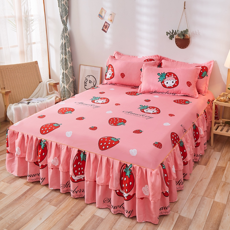 1pc  Quality Thicken Elastic Non-Slip Bedspreads Sheet Strawberry Prints Ruffle Bed Skirt Soft Mattress Cover No Pillowcase