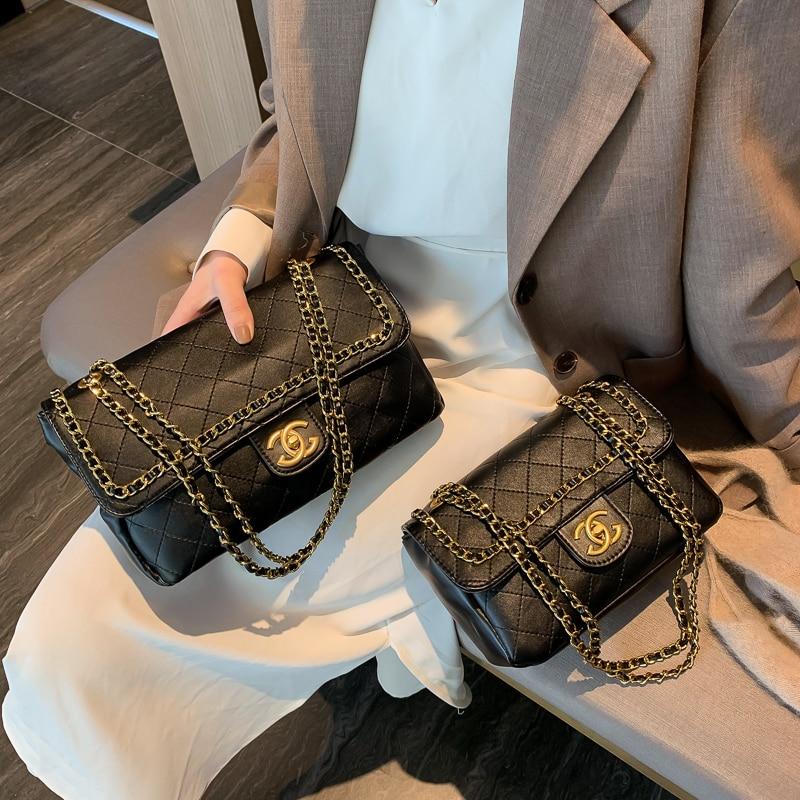 Women Handbags Fashion Rhombic Pattern Chain Shoulder Messenger Bag Famous Designer Plaid Crossbody Bag Channel Bags Black White