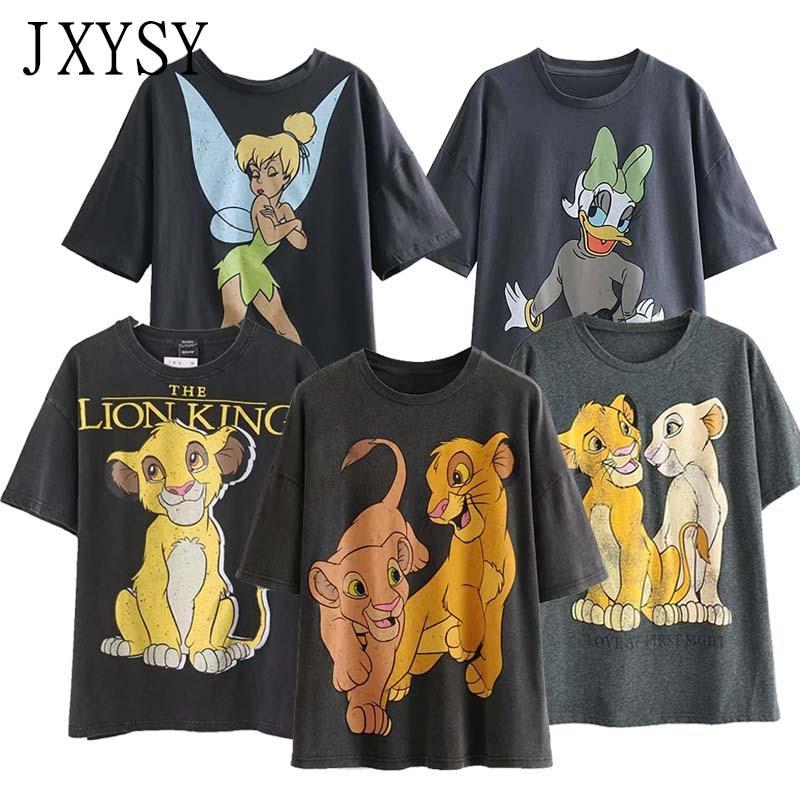 JXYSY T-shirt Women 2020 Summer England Style Fashion Cartoon Lion King Print O-neck Short Sleeve T-shirt Female Tops