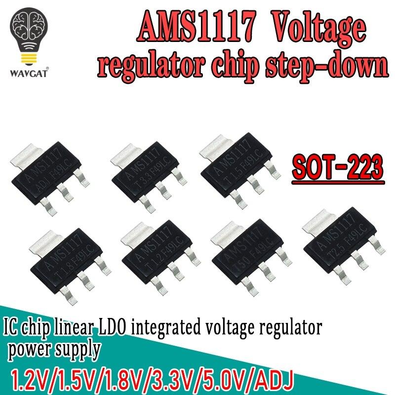 Reguladores de voltaje SOT-223 1A LM1117 1.2V-5V AMS1117 Step Down