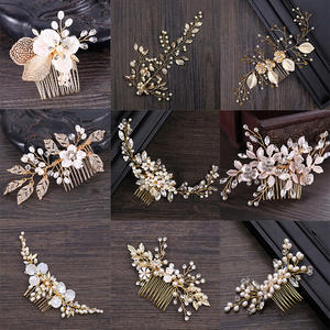 Jewellery Headpiece Hair-Combs Tiaras-De-Noiva Pearl VL Crystal Bridal-Hair Wedding Metal