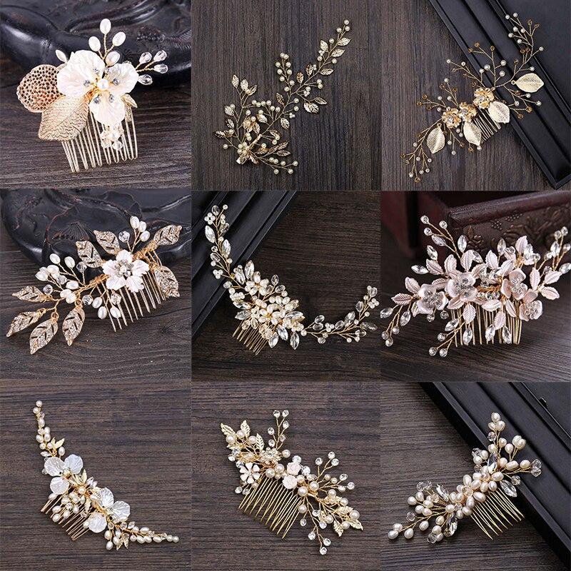 Golden Metal Crystal Pearl Hair Combs Jewellery Tiaras de Noiva Headpiece Bridal Hair Jewelry Women Wedding Hair Accessories VL