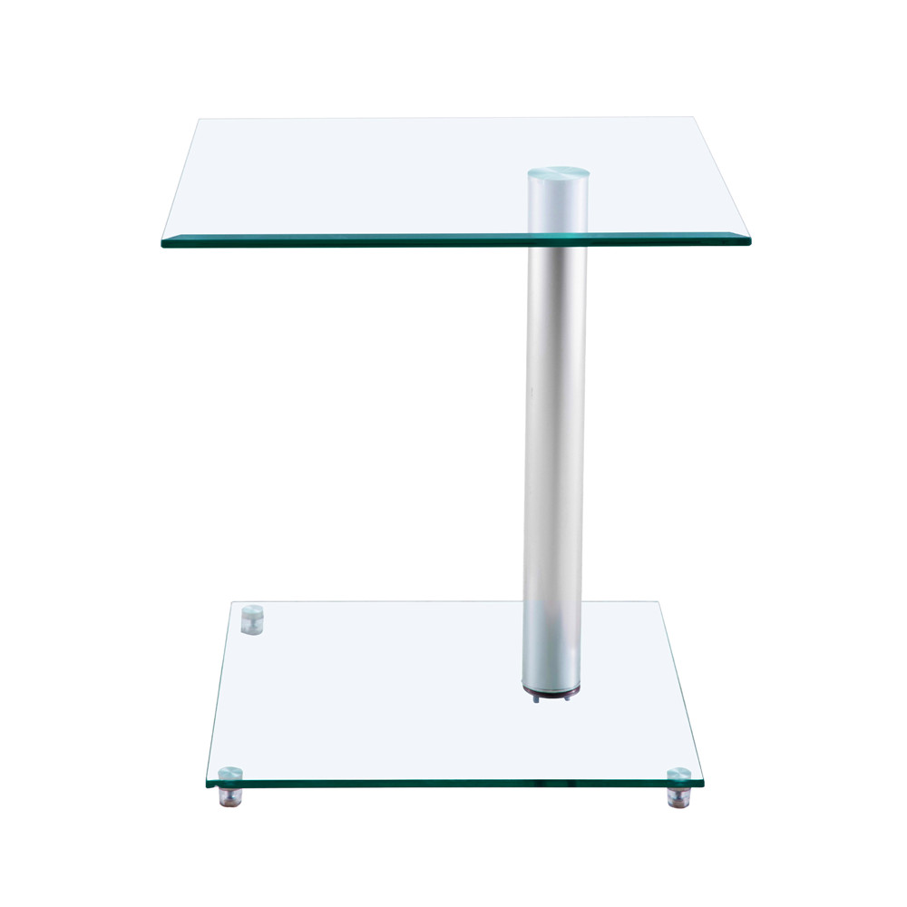 Home Side Tables Furniture Clear Glass End Table Living Room Table 2 Tier Square Glass Minimalist Office Magazine Storage Shelf