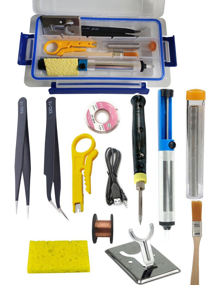 USB soldering iron kit portable 5V 8W YUSB mini welder set with plastic case including tweezers desoldering pump solder wire