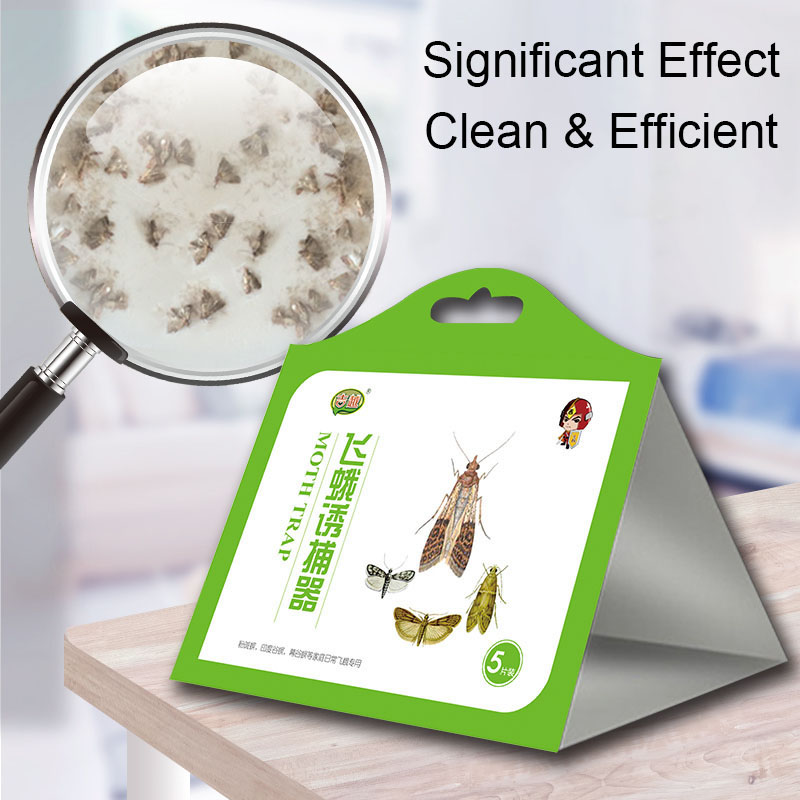 5pcs Moth Trap Family Anti-mite Mat Hotel Insecticide Dust Removal Mite Mosquito Repellent Kitchen Food Moth Insecticide