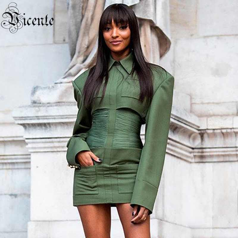 Green Collar Christmas Party 2020 VC Free Shipping 2020 Army Green Blazer Dress Turn down Collar