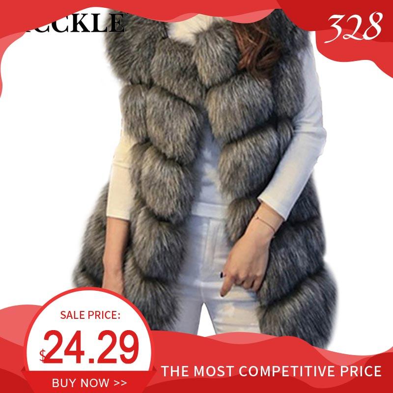 Winter Sleeveless Faux Fur Women's Vest Coat Plus Size 4XL Fox Luxury Warm Women Vests Coats 2020 Womens Gray Chic Jacket Lady