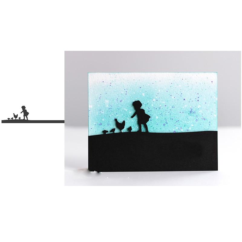 Металлические режущие штампы, панорама Пасхальная девочка, рамка кролика, высечка, скрапбук, бумага для изготовления открыток, Ремесленная ...