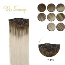 VeSunny Clip in Hair Extensions Real Human Hair 7pcs Double Weft Clip on Hair Balayage Ombre Highlights Light Root Blonde Hair