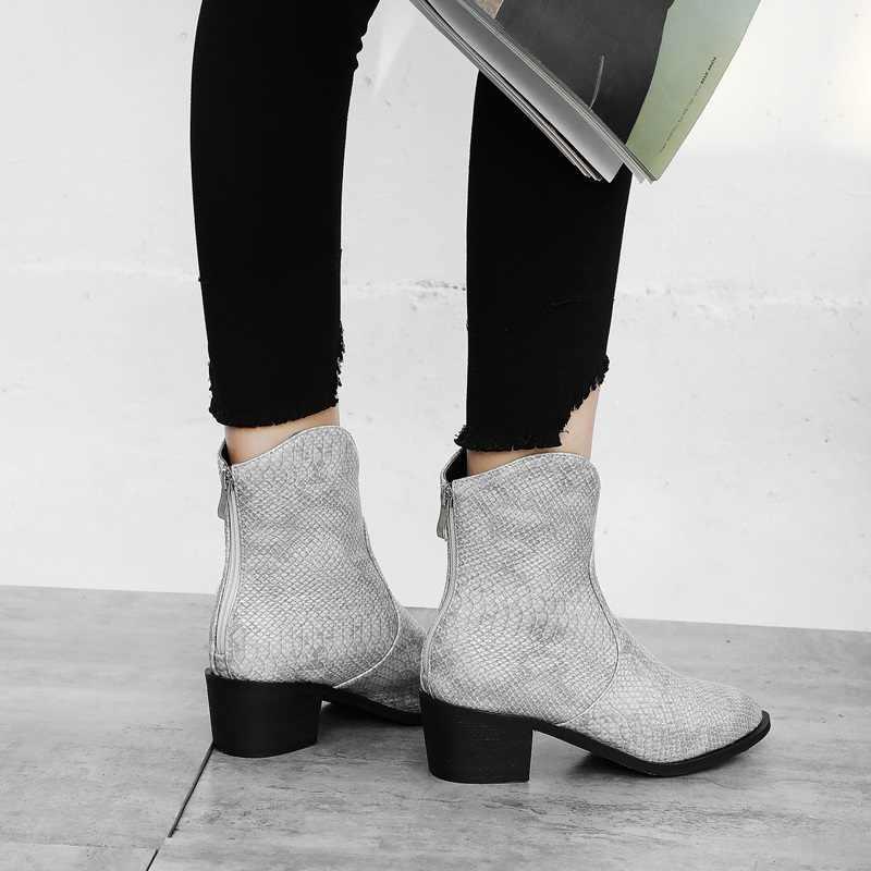 EGONERY punk frau western stiefel winter plüsch gelb grau schwarz floral spitz stiefeletten kühlen 5cm mid heels frauen schuhe