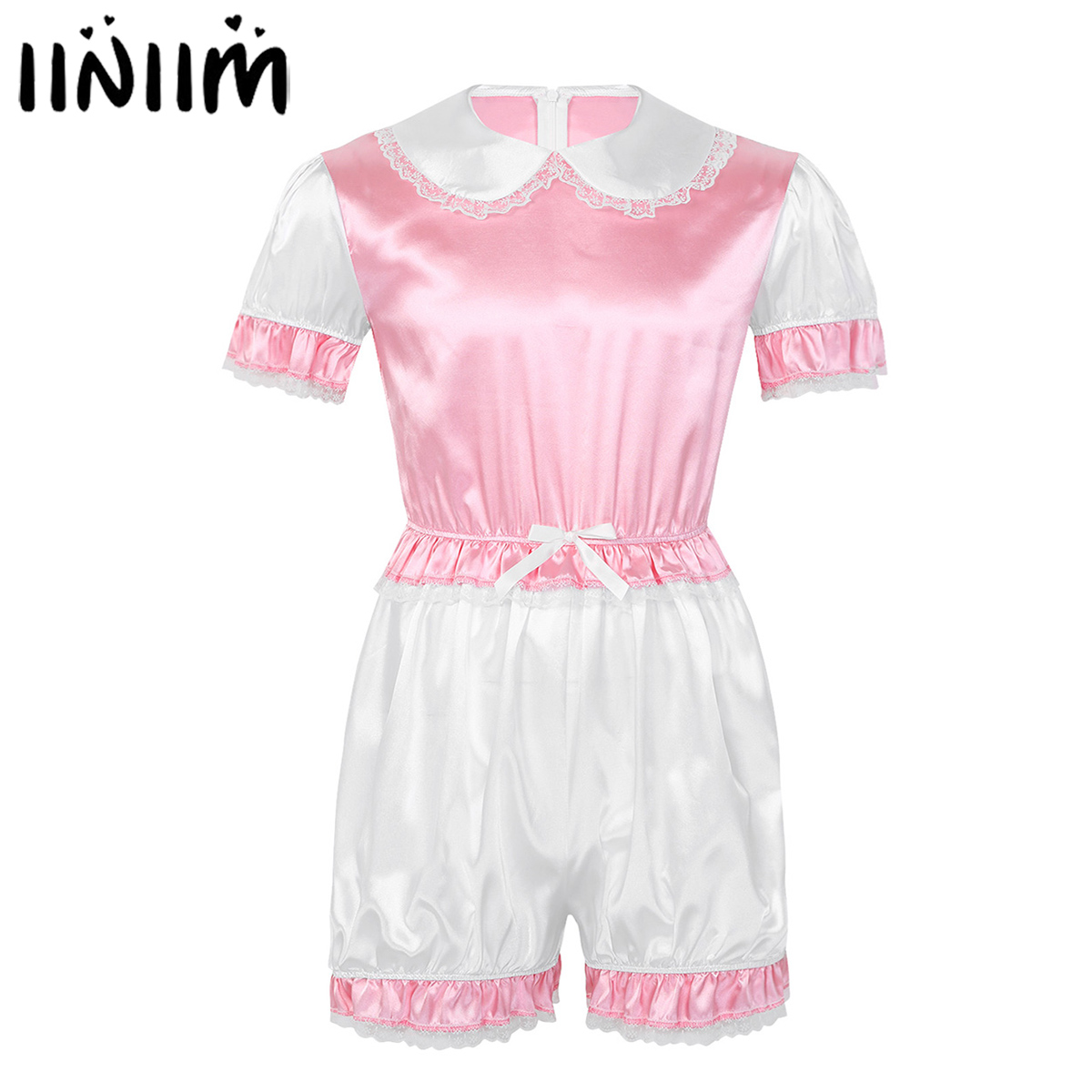 Mens Sissy Lingerie Satin Lace Babydoll Romper Exotic Adult Baby Cross Dresser Catsuit Gay Teddies Bodycon Body Suit Sexy Pajama