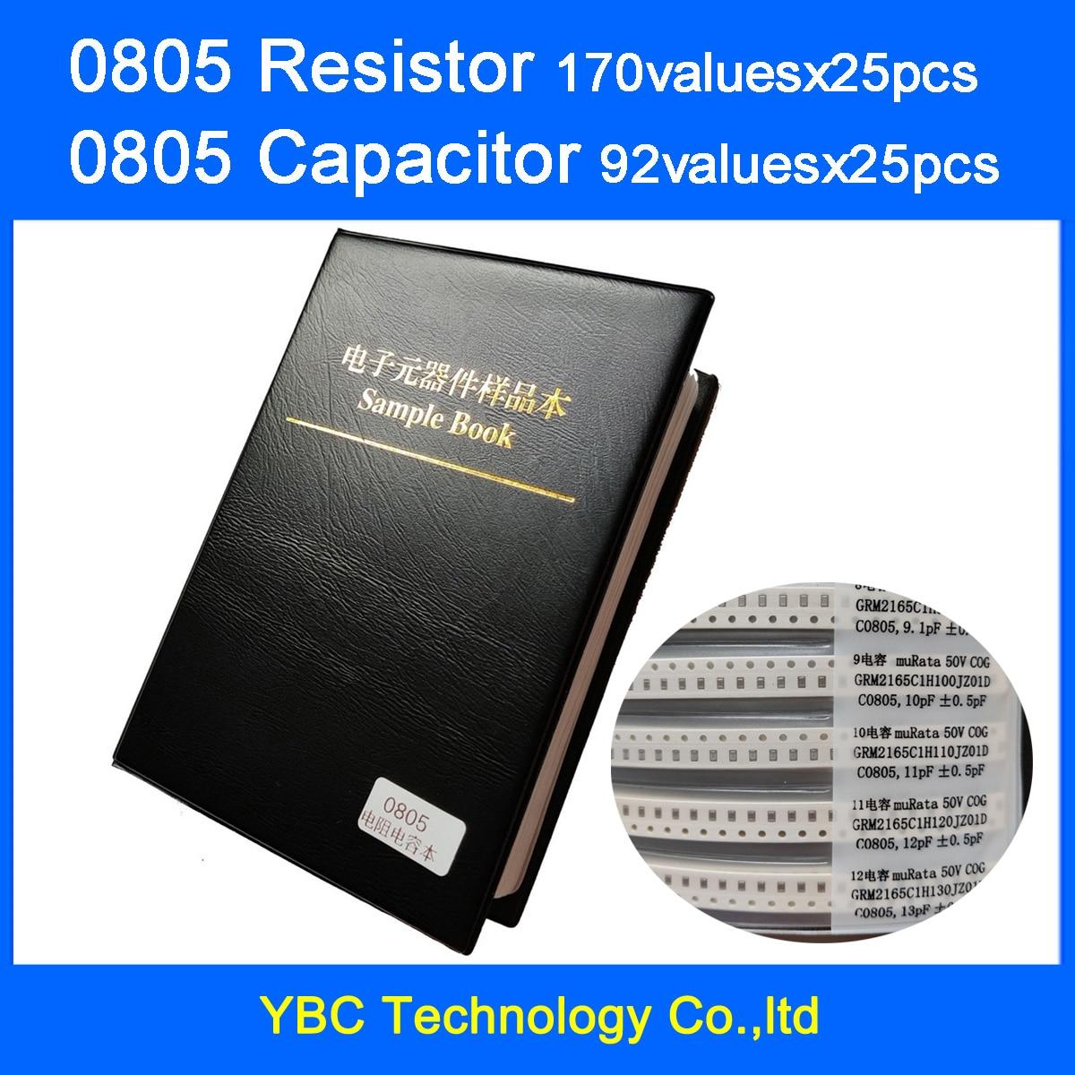 0805 SMD Resistor 0R~10M 10valuesx25pcs=4250pcs + Capacitor 92valuesX25pcs=2300pcs 0.5PF~10uF Sample Book