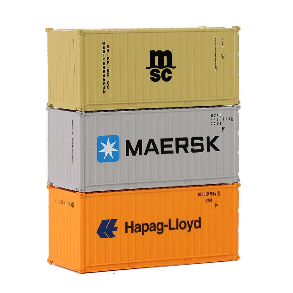 Image 4 - Mixed 3pcs Different 20ft Shipping Container Freight Cars N Scale C15007 1:150 20 Foot Container Model Railway LayoutModel Building Kits   -