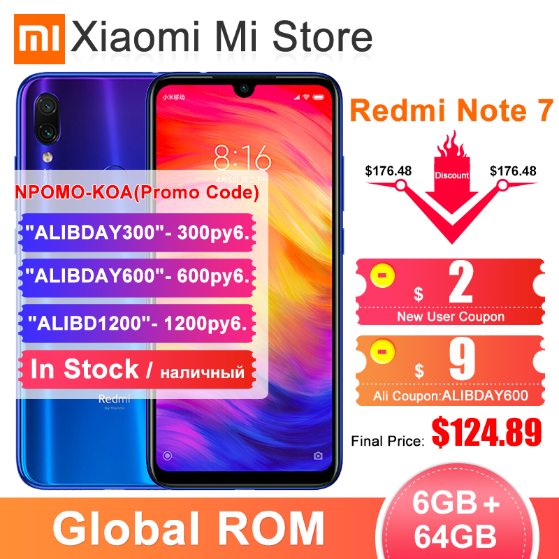 Xiaomi Redmi Note-7 6GB 64GB GSM/WCDMA/LTE Quick Charge 4.0 Octa Core Fingerprint Recognition title=
