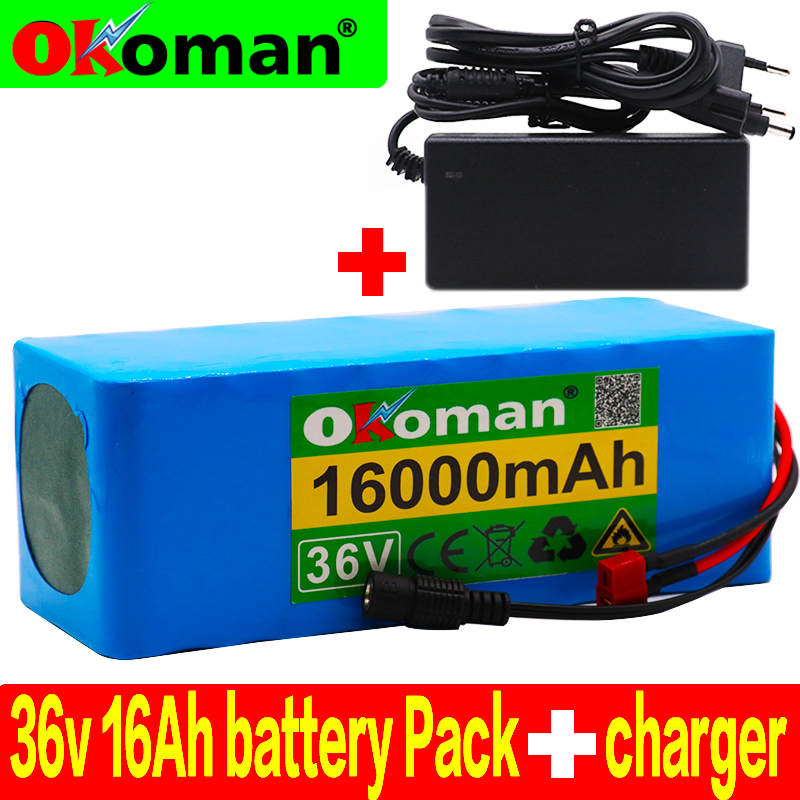 36V 16AH Electric Bike Battery Built in 20A BMS Lithium Battery Pack 36 Volt with 2A Charge Ebike Battery+ charger