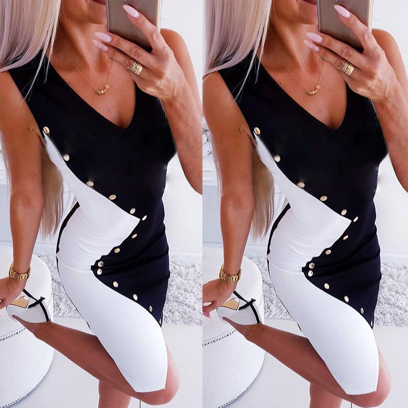 BacklakeGirls Summer New Sexy V Neck Sleeveless Black White Contrast Color Women Cocktail Dress For Cocktail Party Coctel