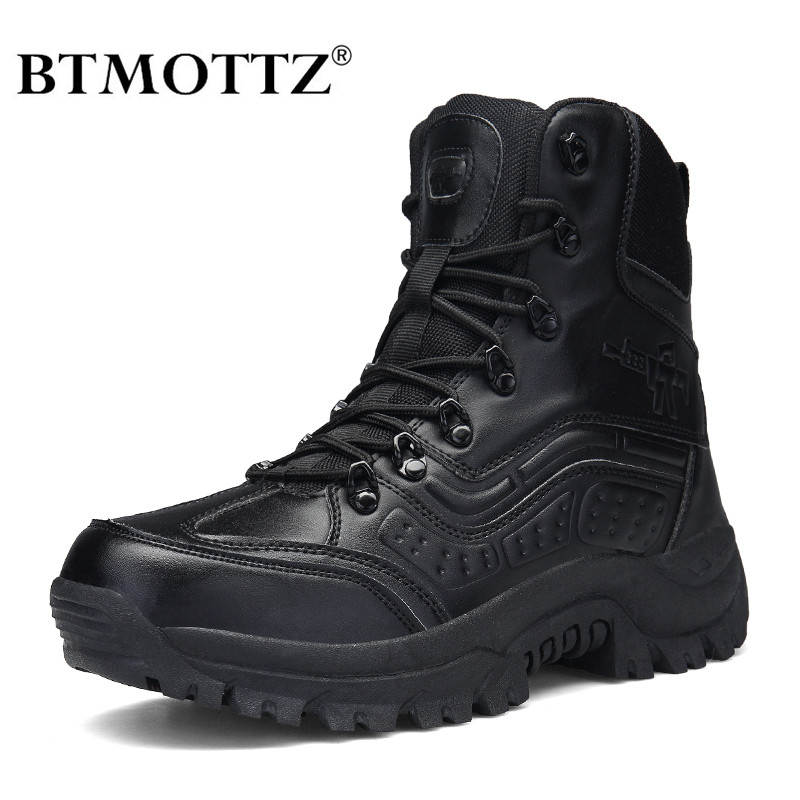 Tactical Military Combat Boots Men Genuine Leather US Army Hunting Trekking Camping Mountaineering Desert Winter Shoes BTMOTTZ