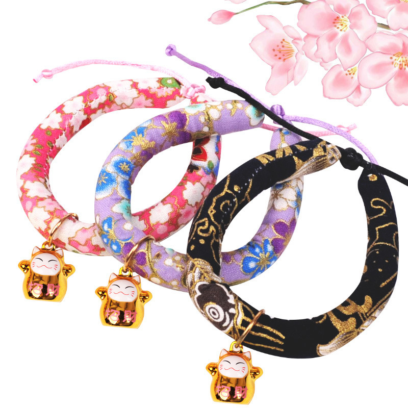 Cat Japanese Style Necklace Bell Neck Ring And Wind Handmade Accessories Dog Collar Cat Dog Pet Sweet Accessories