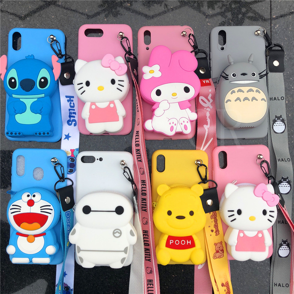 ORYKSZ 3D Cartoon Melody Bear Wallet Phone Case For Samsung Galaxy Note 5 8 9 10 S6 S7 edge S8 S9 plus S10 S10E Plus Back Cover image