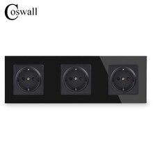 COSWALL קיר זכוכית קריסטל לוח 3 כנופיית כוח שקע תקע מעוגן 16A האיחוד האירופי סטנדרטי שחור חשמל שקע משולש