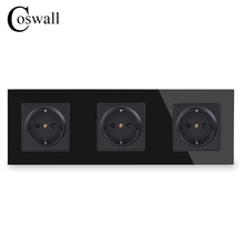 COSWALLคริสตัลแก้วแผง3 Power Socketปลั๊กสายดิน16A EUมาตรฐานสีดำไฟฟ้าTriple Outlet
